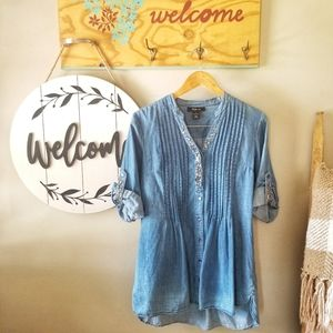 Style & Co. Ombre Oversized Denim Shirt